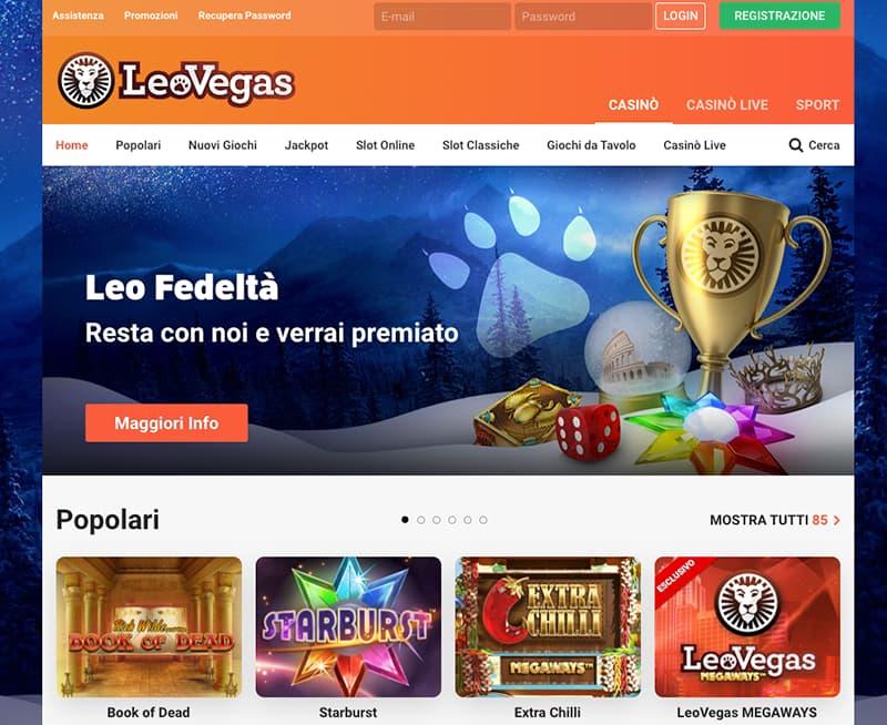 leo vegas online interface website