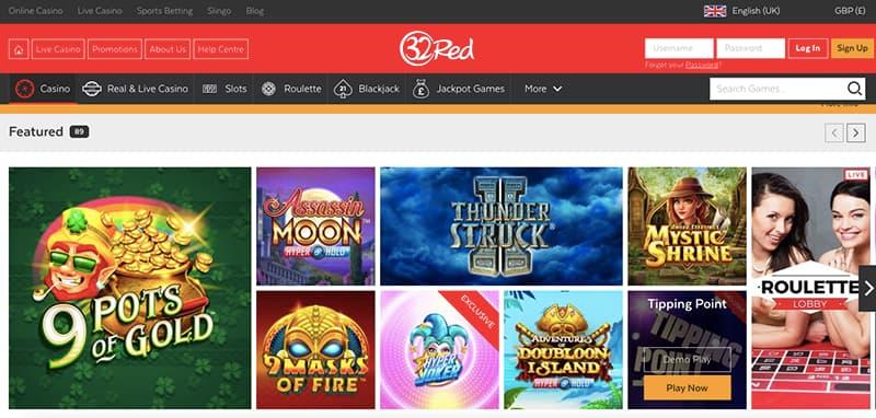 32red casino online interface giochi
