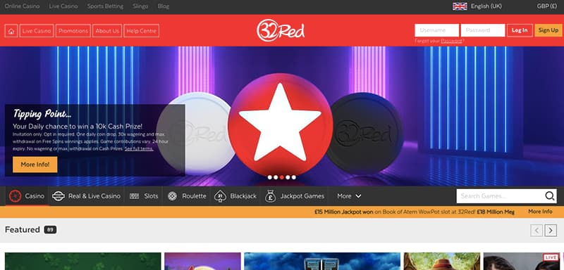 32red casino online interface homepage