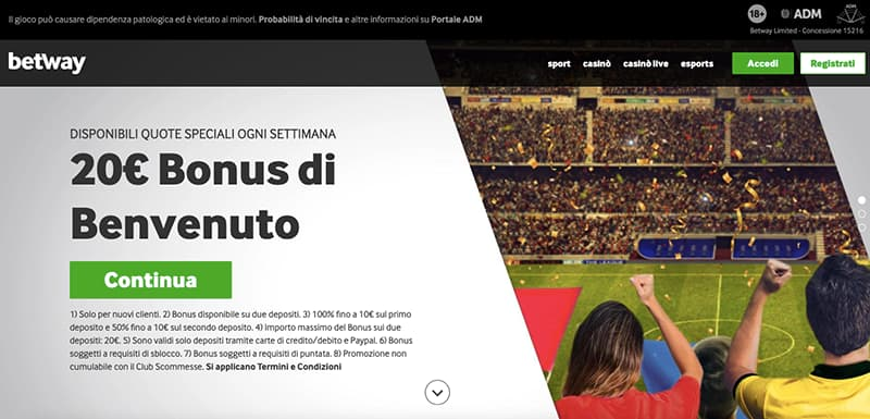 betway casino online interface homepage