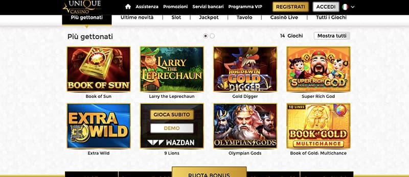 unique casino online interface giochi