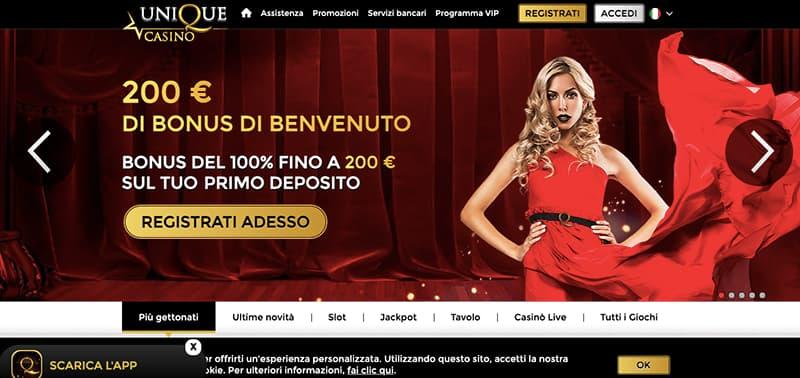 unique casino online interface homepage